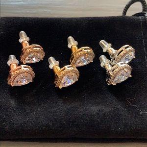 New 3 of Pairs Teardrop Earrings Zirconia Stud